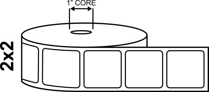 """2"""" x 2"""" Desktop Direct Thermal Labels - 750 Per Roll"""