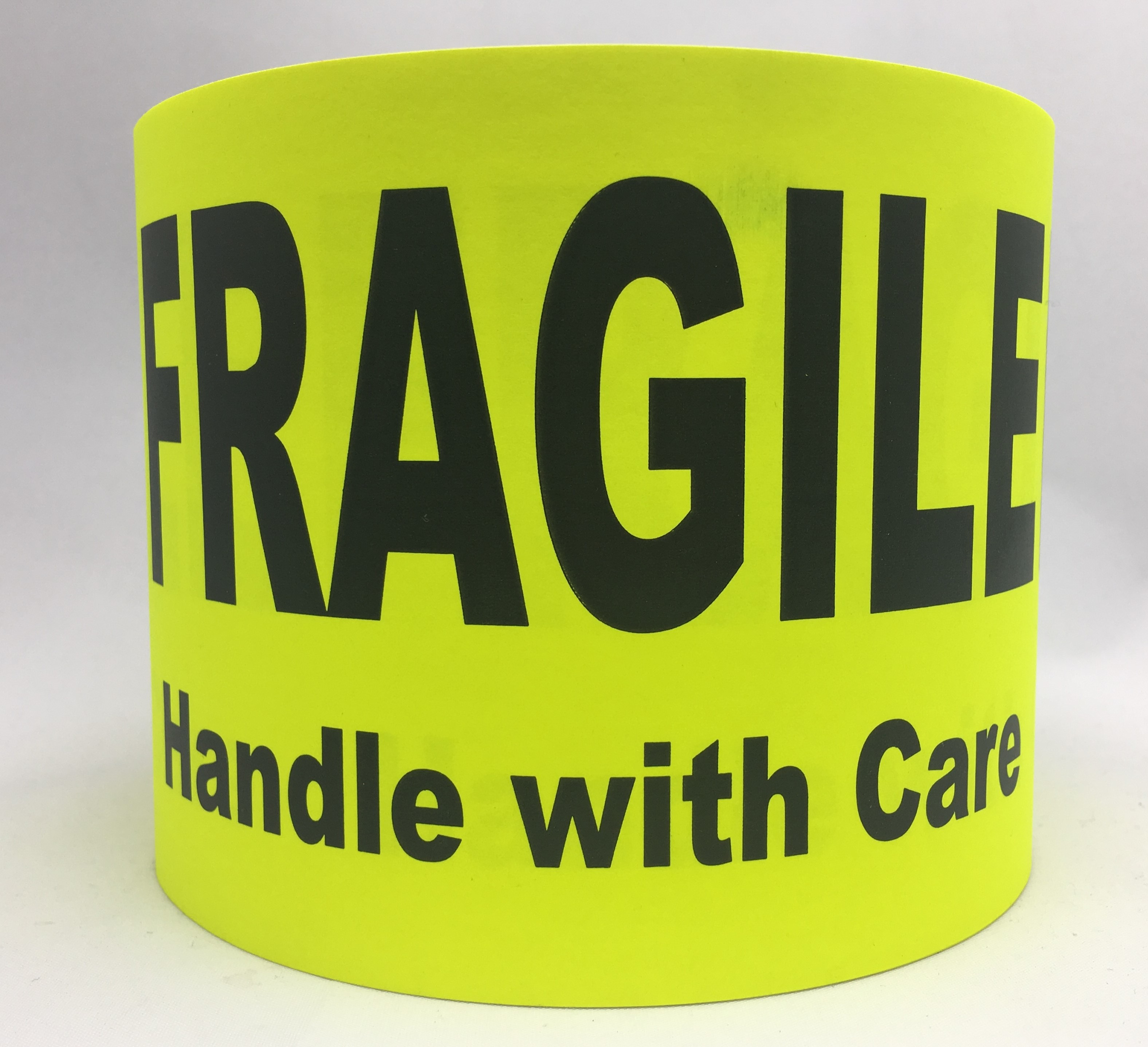 """FRAGILE Handle with Care - Br/Yellow 4"""" x 6"""", 250 Labels Per Roll"""