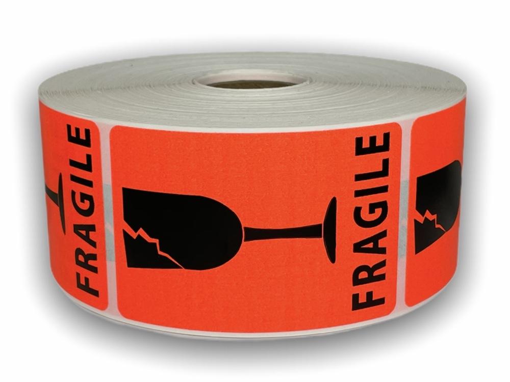 """Br/Red FRAGILE 'Broken Glass' Labels - 2"""" x 3"""""""