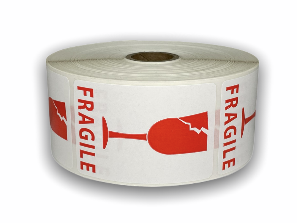 """Red and White FRAGILE 'Broken Glass' Labels - 2"""" x 3"""""""