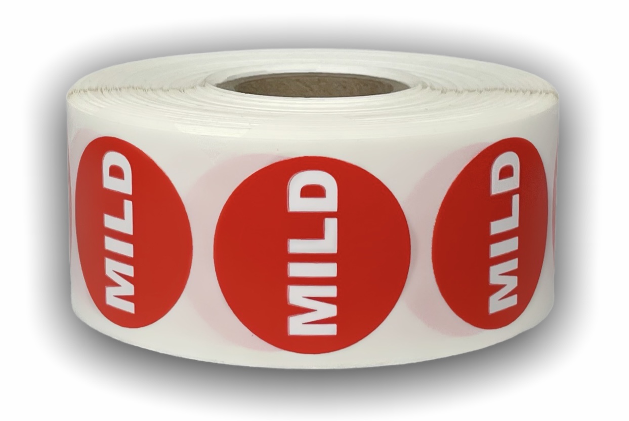"""""""MILD"""" Red/White Packaging Stickers -  1-1/8"""" Round 1000 Labels Per Roll"""