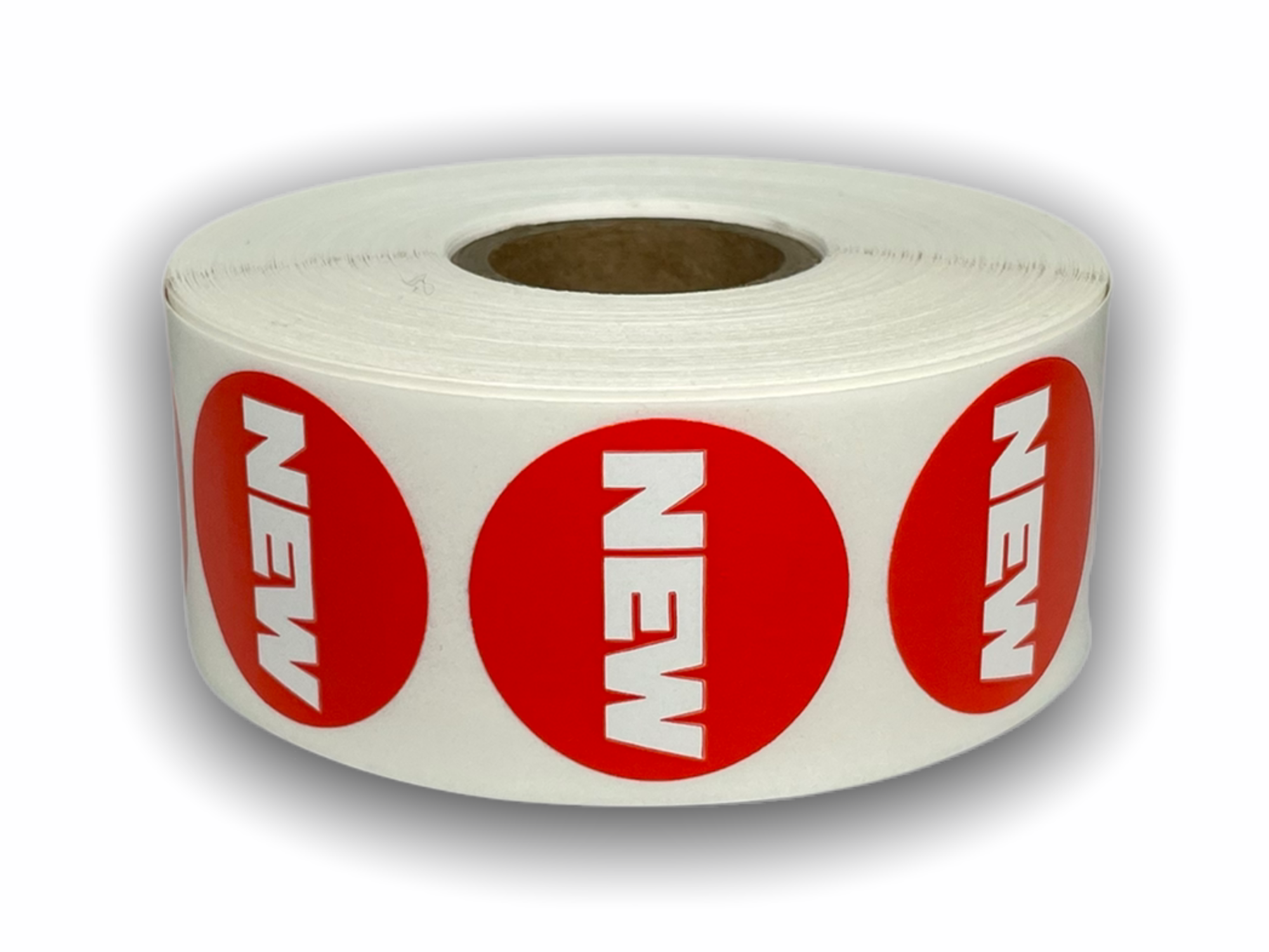 """NEW"" Red/White Packaging Stickers -  1-1/8"" Round 1000 Labels Per Roll"