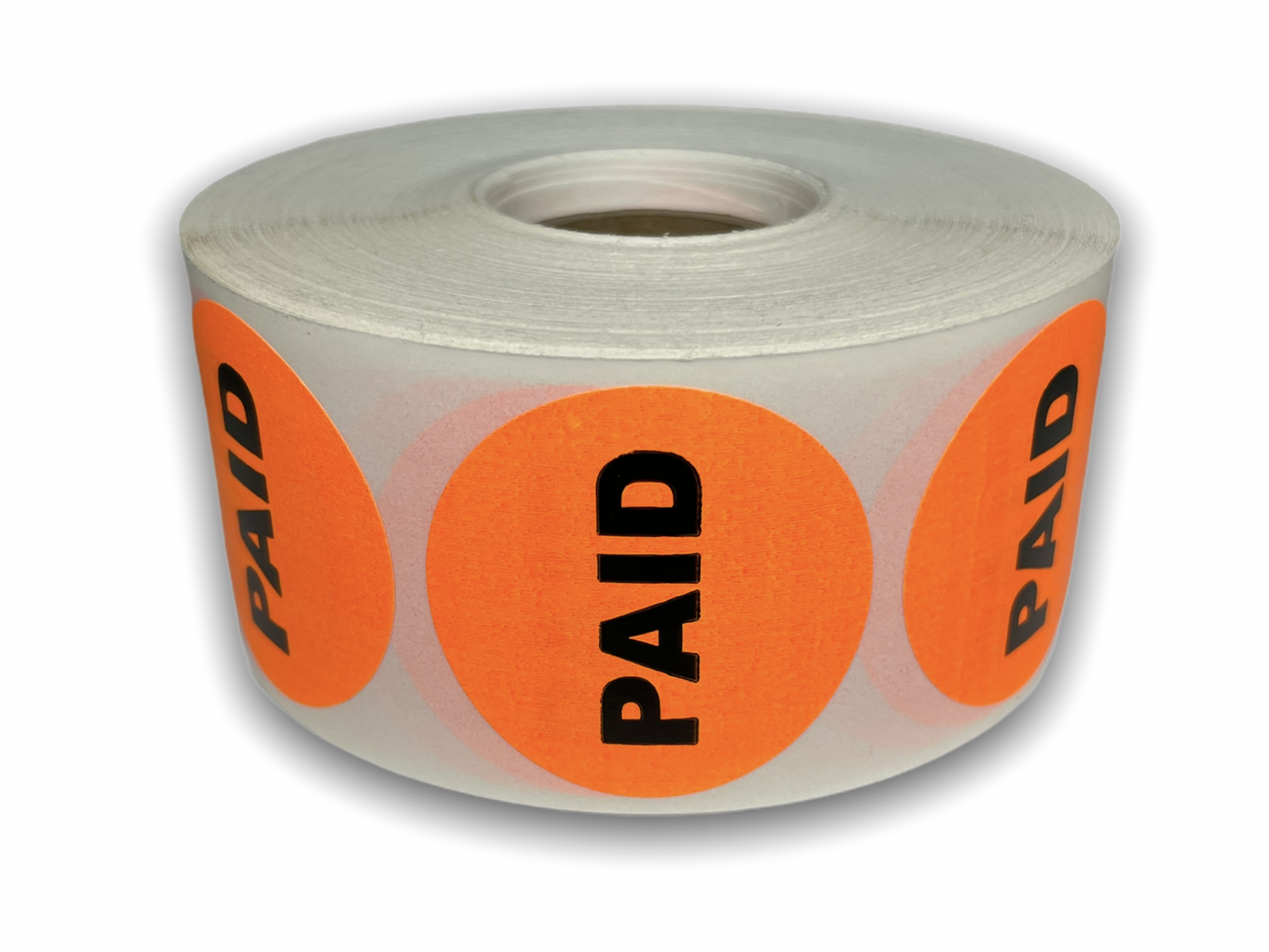 """PAID Stickers - Orange 1-1/2"""" Circle 1000 Labels Per Roll"""