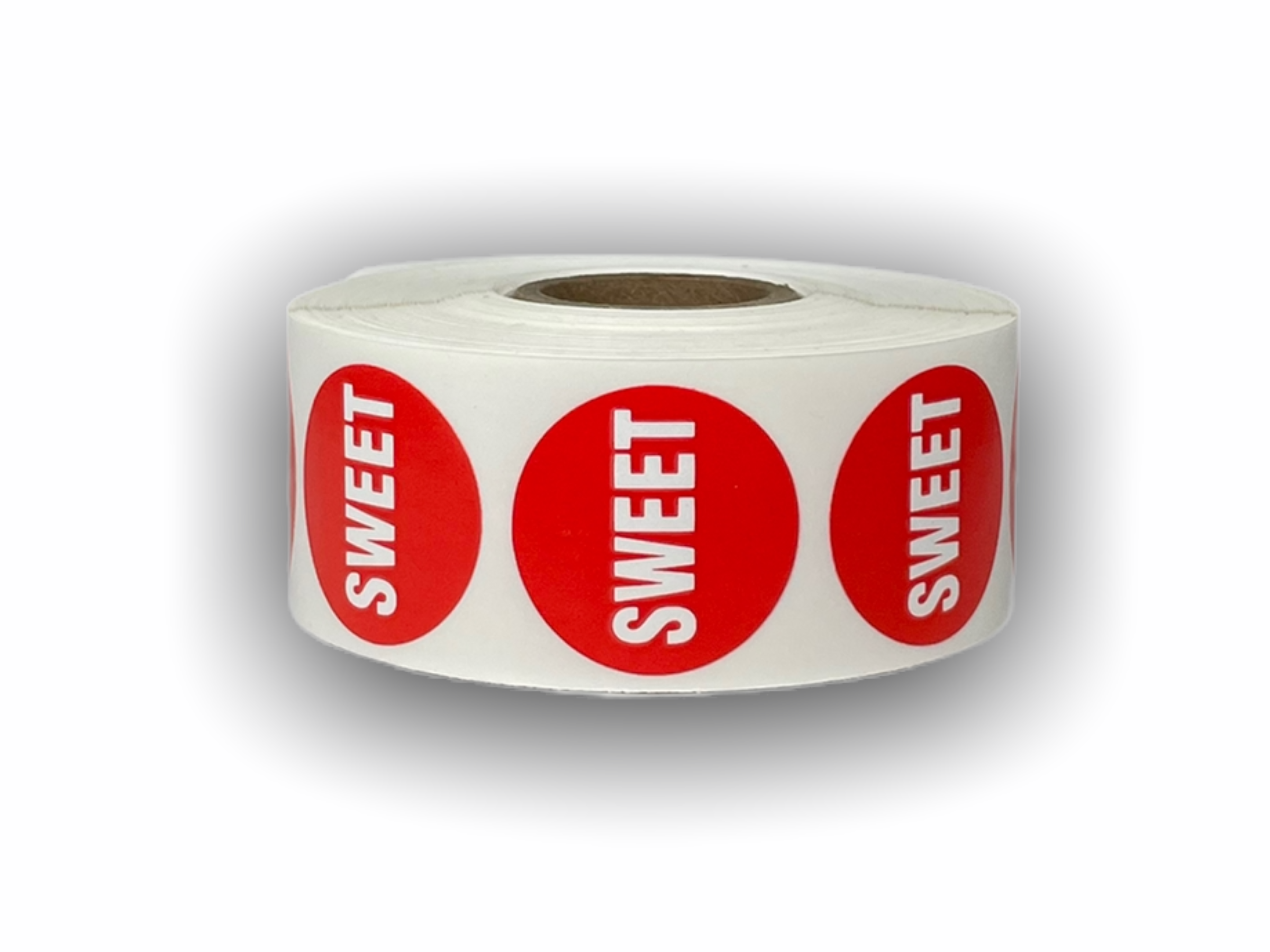 """""""SWEET"""" Red/White Packaging Stickers -  1-1/8"""" Round 1000 Labels Per Roll"""