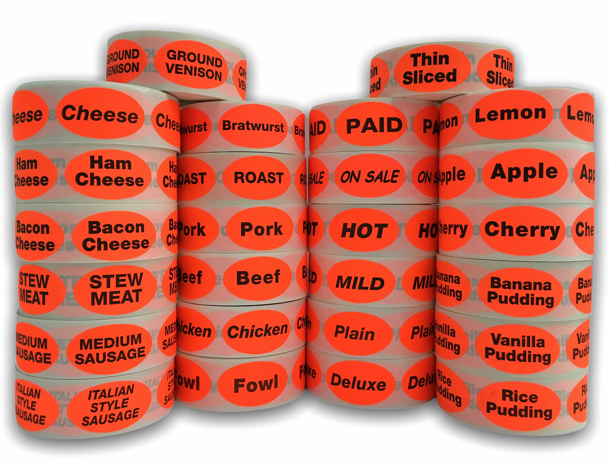 "FOOD / MEAT / PRODUCE / BAKERY Grocery Deli Supermarket Stickers - Br/Red 1-1/2"" x 1"" Oval Labels"