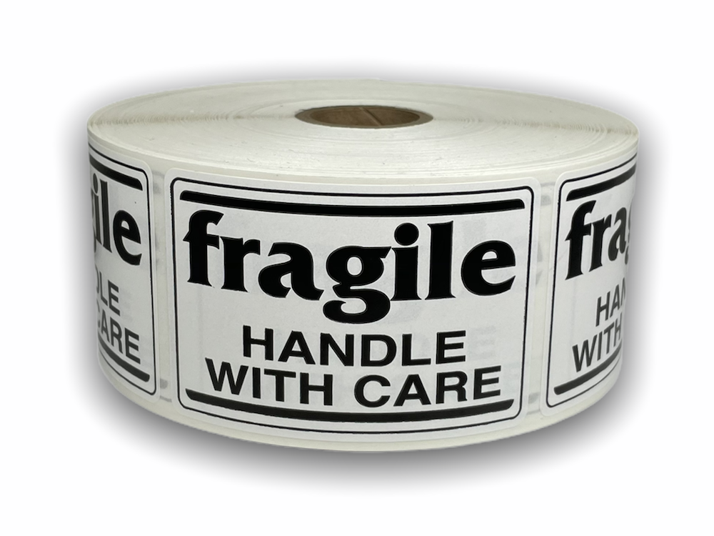 "Black and White fragile Handle with Care Labels  - 2"" x 3"""