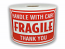 """FRAGILE Handle With Care Labels - 3"""" x 5"""" / 300 Labels Per Roll"""