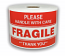 "3"" x 5"" Please FRAGILE Handle With Care Labels, 500 P/R"