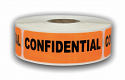 "Orange ""Confidential"" Stickers - 1"" x 3"""