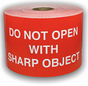 """Red DO NOT OPEN WITH SHARP OBJECT Labels - 3"""" x 5"""" / 250 Labels Per Roll"""