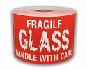 "Fuzzy GLASS Handle With Care Labels - 3"" x 5"" / 300 Labels Per Roll"