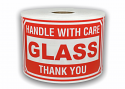 "GLASS Handle With Care Labels - 3"" x 5"" / 300 Labels Per Roll"