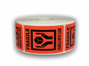 """Br/Red FRAGILE 'Hands Holding Box' Handle with Care Labels - 2"""" x 3"""""""