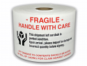 "FRAGILE Handle with Care 'Hands Holding Box' Labels - 3"" x 5"" (Red, Black, White) / 300 Labels Per Roll"