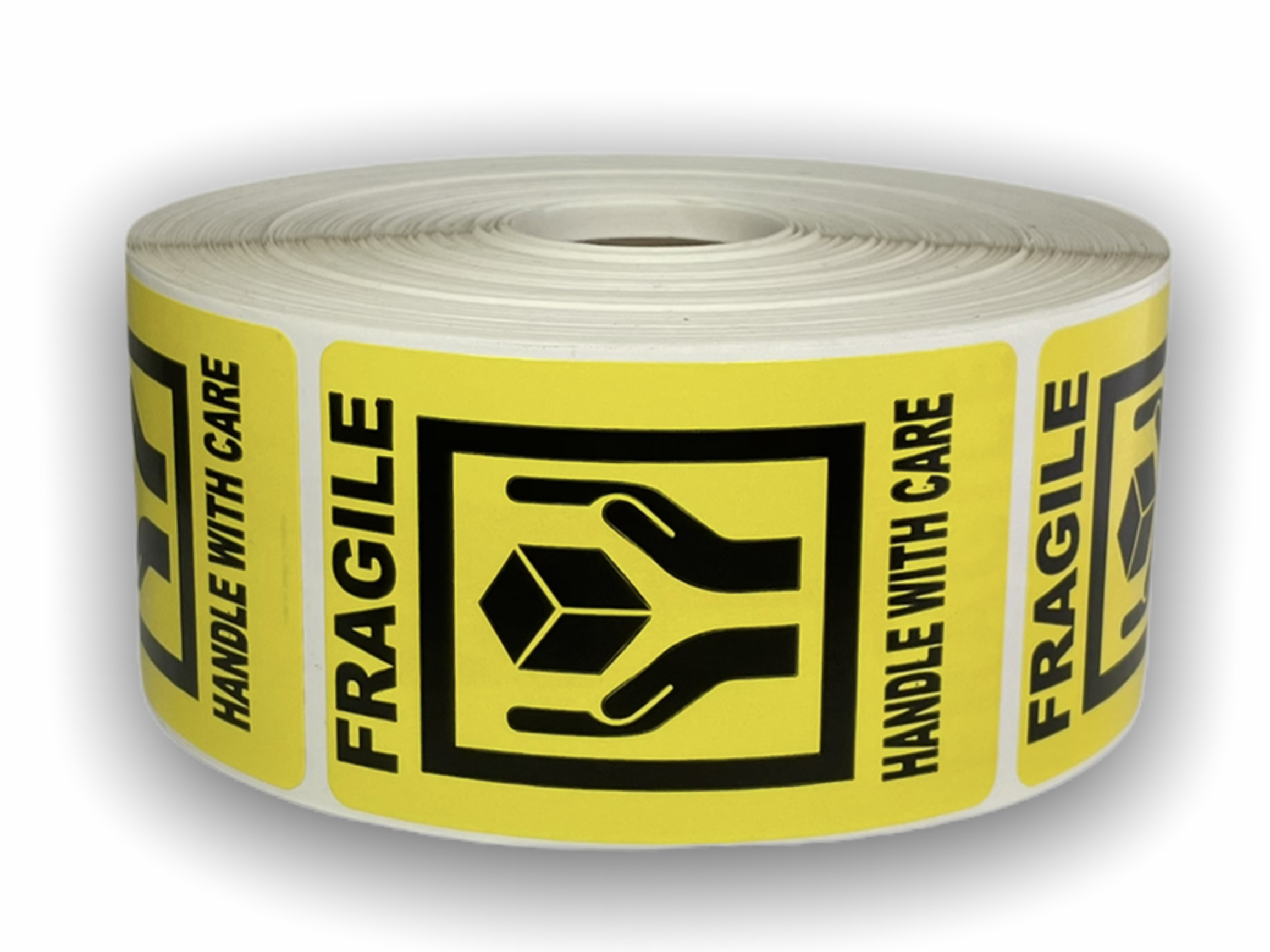 "Yellow FRAGILE 'Hands Holding Box' Handle with Care Labels - 2"" x 3"""