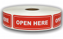"OPEN HERE Labels - 1"" x 3"""