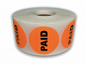 "PAID Stickers - Orange 1-1/2"" Circle 1000 Labels Per Roll"