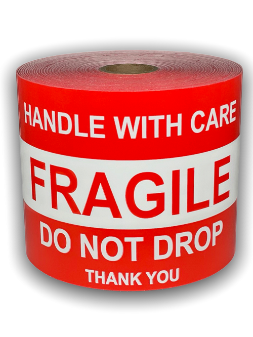 "Handle with Care FRAGILE / DO NOT DROP / Thank You Labels - 3"" x 5"" / 300 Labels Per Roll"