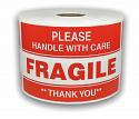 "Please FRAGILE Handle With Care Labels - 3"" x 5"" / 300 Labels Per Roll"