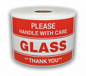 "Please GLASS Handle With Care Labels - 3"" x 5"" / 300 Labels Per Roll"