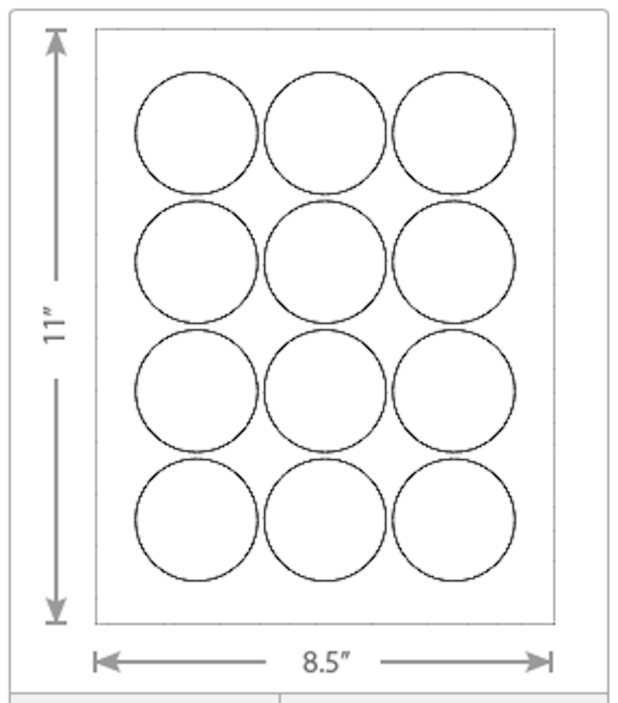 """2.25"""" Round Circle Labels 12-Up"""