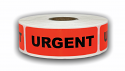 "Br/Red URGENT Stickers - 1"" x 3"", 300 Labels Per Roll"