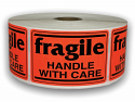 "Br/Red fragile Handle with Care Labels - 2"" x 3"""
