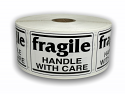 """Black and White fragile Handle with Care Labels  - 2"""" x 3"""""""